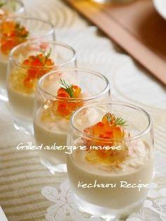 一口食べて感激!!焼きナスのムース Appetizers For Party, Appetizer Recipes, Dessert Recipes, Gourmet Recipes, Cooking Recipes, Gourmet Foods, Michelin Star Food, Japanese Dishes, Japanese Meals