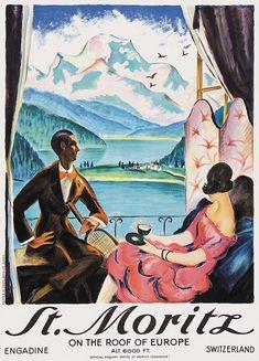A vintage St Moritz tourism poster, circa 1920 Vintage Ski Posters, Retro Poster, Vintage Advertisements, Vintage Ads, Tourism Poster, Travel Ads, Railway Posters, Kunst Poster, Graphic Illustration