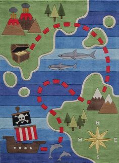 """Cute new kids rug Lil Mo Whimsy LMJ-25 Pirate Blue Kids Rug is a pirate theme rug that features a pirate ship in shark infested waters with a buried treasure on an island.  Soft durable mod-acrylic, and kid friendly. Until July 31st, 2016 take 15% off by using code """"FBPKIDS16"""" at Rug Goddess."""