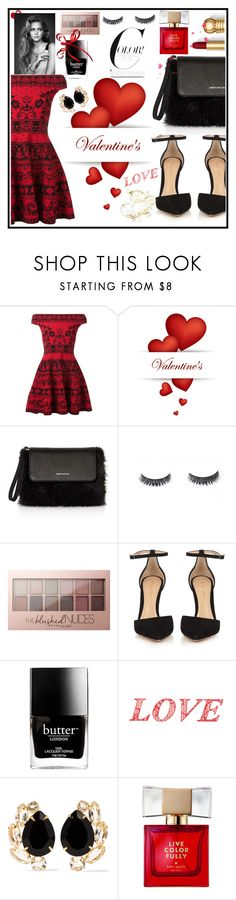 """Happy Valentines day ♡♡♡"" by mk19972000 ❤ liked on Polyvore featuring Alexander McQueen, Karen Millen, Luxie, Maybelline, Gianvito Rossi, Butter London, WALL, Bounkit and Kate Spade"