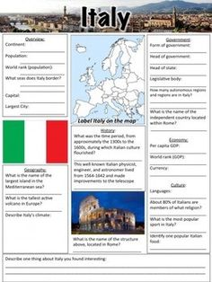 What is there to like when learning a foreign language? Imagine that you are learning the Italian language right at your own living room. Considering the numerous simple methods of learning Italian today, would you rather sit in your Facts For Kids, Fun Facts, Italy Geography, Italian Language School, Italy For Kids, World Thinking Day, Classroom Language, Learning Italian, Worksheets For Kids
