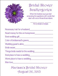 24 Personalized SCATTERGORIES Bridal Shower Game by Print4U... go by tables so you can read them all aloud without everyone getting bored