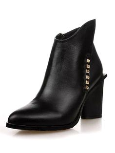 Black Studded Ankle Heeled Boots With Zipper Detail