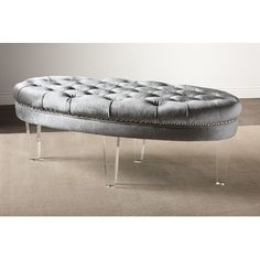Edna Oval Microsuede Fabric Upholstered Luxe Tufted Ottoman Color: Gray - http://delanico.com/ottomans/edna-oval-microsuede-fabric-upholstered-luxe-tufted-ottoman-color-gray-602025158/