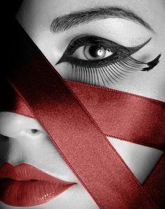 ribbon lips red color splash