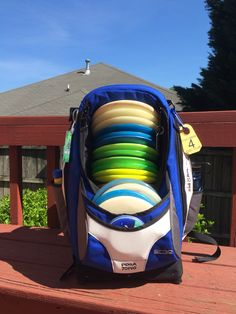 Greatest disc golf bag ever! Has a stool built in and can hold 30+ discs. Big Hyzer Bags. Ergo3
