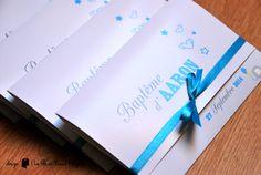 Faire-part de baptême sur-mesure garçon - Etoile, éléphant, ballon Couleurs : gris, bleu turquoise, jaune www.lafilleaunoeudrouge.fr