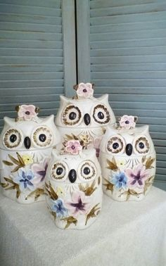Owl Cookie Jar Set Vintage 70's Owl Kitchen by BallyClareCottage, $65.00