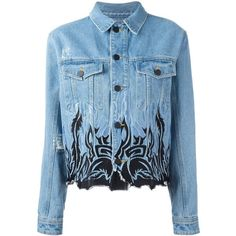 Filles A Papa tribal embroidery denim jacket ($514) ❤ liked on Polyvore featuring outerwear, jackets, tops, denim, coats, blue, blue denim jacket, tribal jacket, embroidered denim jackets and embroidered jean jacket