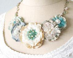Collar, joyería de la boda de playa, collar azul turquesa, collar de flores de tela, flores declaración collar de novia declaración