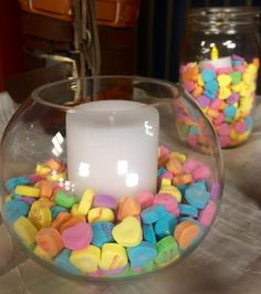 Use a thrifted vase and put conversation hearts and a candle inside for a fun and easy centerpiece or teacher gift.