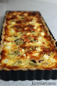 Kermaruusu: Suolainen piirakka Beef Recipes, Cooking Recipes, Lasagna, Quiche, Food And Drink, Bread, Cheese, Baking, Dinner