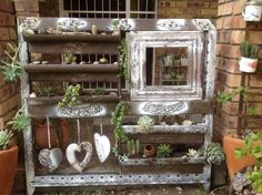 Succulant display. Old frame and PVC pipe