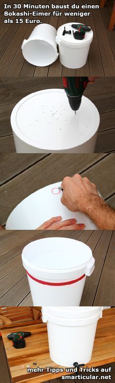 Bokashi Eimer kann man auch leicht selber bauen. 30 Minuten Arbeit und ca. 15 € Kosten für Material.