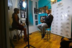 President Greshaun Fulgham being interviewed at DESTINY Premiere Party October 10, 2015 at the world famous Music World Studios in Houston TX.