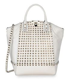 Rockstud in white leather with shoulder strap.