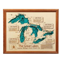 Wood crafted Lake Topography Art with 3D depth charts and roads and water details. A hand-assembled cherished heirloom.