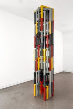 'Samson's push, or No. VI / Composition No.II' by Ryan Gander. A pillar made from custom coloured LACK Ikea side tables. The colours correspond to the Ikea Side Table, Side Tables, Ryan Gander, Piet Mondrian, Art Blog, Oil On Canvas, Graphic Design, Colours, Composition