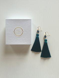 Long Teal Blue Silk Tassel with Druzy Stone Statement Earrings #piercedesignco