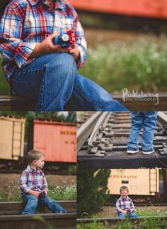 Thomas the Tank Engine photo shoot at a railroad museum. Not active tracks. Pickleberry Photography: 3rd Birthday Session