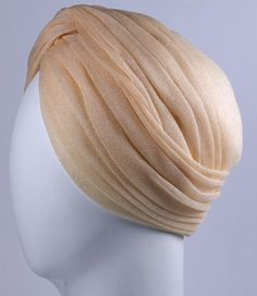 Blush draped silk jersey tulle turban (side view) | Label: Paulette | Made in France, 1960's and retailed by Saks 5th Avenue