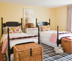 Yellow and pinks guest room.  Beautiful