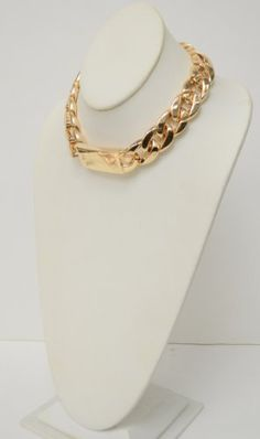 FASHION STATEMENT Celebrity Style THICK GOLD LINK CHAIN ID NECKLACE