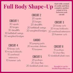 Full Body Shape Up Workout via Healthy Helper [fitness, workout, exercise, total body workout, full body workout, workouts, healthy living, healthy helper]