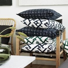Marimekko's Spaljé and Basket cushion covers