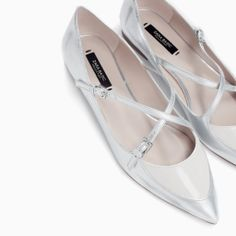 POINTED BALLERINAS WITH BOW in Silver from Zara $49.90