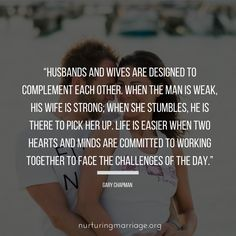 Husbands and wives are designed to complement each other. Godly Marriage, Marriage Relationship, Marriage Advice, Marriage Preparation, Godly Wife, Relationships, Beautiful Marriage Quotes, Love And Marriage, Strong Marriage Quotes