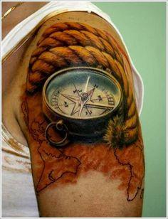 Compass tattoo. Artist unknown