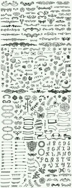 Drawing Doodle Easy Hundreds of fancy and easy bullet journal decorations and planner doodles, DIY drawing ideas, notebook sketching Icon Design, Diy Tattoo, Tattoo Ideas, Bullet Journal Inspiration, Nature Tattoos, Drawing Tips, Drawing Ideas, Drawing Flowers, Plant Drawing
