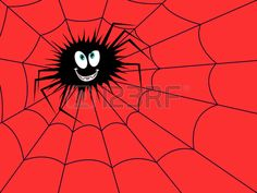 Big funny dark spider on the cobweb with red background hand drawing Halloween cartoon vector illust Stock Vector