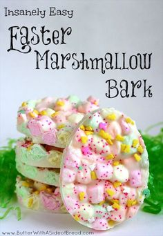 Easter Marshmallow Bark ~ only 2 ingredients and they're SO CUTE! www.ButterWithASideofBread.com #Easter #marshmallows