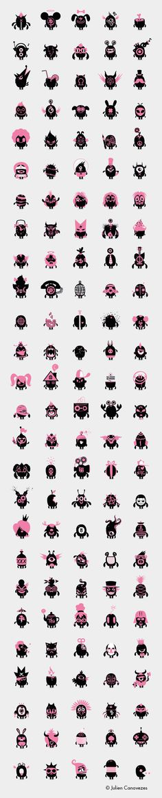 130 freaky friends family by julien canavezes, via Behance