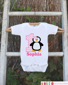 Penguin Birthday Outfit - Personalized Bodysuit For Girl's 1st Birthday Party - First Birthday Pink Penguin Birthday Outfit With Name & Age