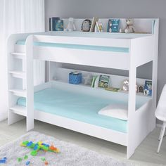 Kidsaw MFC Bunk Bed White Aerial Bed Frame, great online value at only from QD Stores - Now doesn't that feel good Bunk Beds Small Room, Bunk Bed Rooms, White Bunk Beds, Bunk Beds With Storage, Bunk Beds With Stairs, Cool Bunk Beds, Kids Bunk Beds, Bed Storage, Storage Spaces