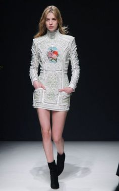 Beaded Mint Balmain dress on the runway // What to expect from the H&M Balmain Collab: (http://www.racked.com/2015/7/29/9055095/hm-balmain-collaboration-predictions?utm_content=buffer312a4&utm_medium=social&utm_source=pinterest&utm_campaign=racked)