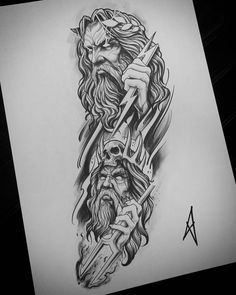 Zeus & Hades Tattoo is part of Feather tattoos Ideas For Women - Feather tattoos Ideas For Women Zeus Tattoo, Hades Tattoo, Poseidon Tattoo, Shaka Tattoo, Tattoo Design Drawings, Tattoo Sleeve Designs, Tattoo Sketches, Tattoo Designs Men, Forearm Tattoos