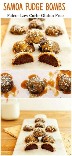 Samoa Fudge Bombs -- easy, delicious, grain-free, dairy-free, and only 1 gram net carb apiece! From Stacey at Beauty and the Foodie #healthy #lowcarb