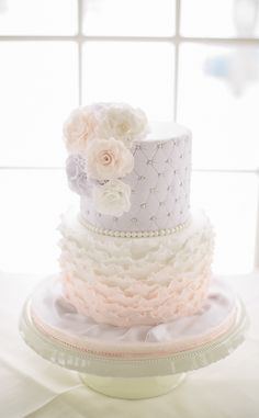 Lilac Quilting & Pink Frills Wedding Cake