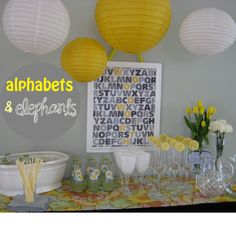 alphabet party yellow and gray