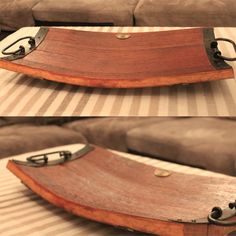 Stave platter makes a memorable Wedding or Birthday gift made. Finely crafted using the staves (side) of a wine barrel and fitted with quality hardware and rubber feet.Sure to impress the die-hard foodie!
