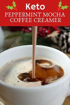 rich and creamy keto coffee creamer is made with normal ingredients (you probably already have everything in your pantry). If you love Peppermint Mochas, you will love this sugar free Peppermint Mocha Coffee Creamer. Perfect for the Holidays, or any time! Sugar Free Coffee Creamer, Healthy Coffee Creamer, Coffee Creamer Recipe, Keto Coffee Recipe, Coffee Recipes, Mocha Coffee, Coffee Cup, Coffee Maker, Breakfast