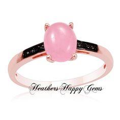Pink Jade/Black Diamond 14K RG Overlay SS Ring. Starting at $19 on Tophatter.com!