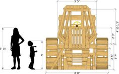 Wooden plans of a modern day tractor with a hay trailer as well. Cool details, multiple levels and room for a slide. Kids will go nuts for this play-set plan!
