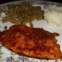 Parmesan Crusted Tilapia Fillets Recipe.  will mix the olive oil with the grated parmesan cheese and finely chopped garlic next time... good, not greasy and healthy, just needed a little bit more flavor.