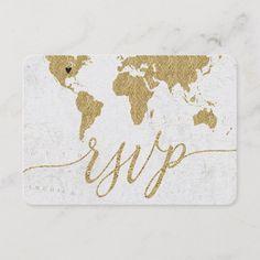 Gold Foil World Map Destination Wedding Schedule Card - wedding invitations cards custom invitation card design marriage party Destination Wedding Invitations, Wedding Rsvp, Wedding Invitation Cards, Custom Invitations, Wedding Cards, Wedding Planner, Destination Weddings, Map Wedding, Wedding Ideas