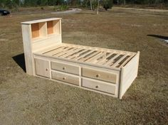 captains bed plans   Twin size Captains bed is 39 inches wide and 76 inches long.